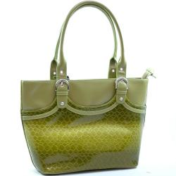 Snakeskin Embossed Faux Leather Tote Bag