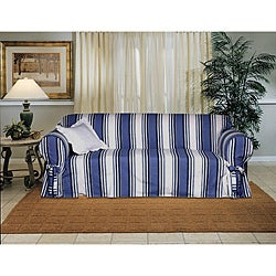 Cotton Blue Stripe Loveseat 1-piece Slipcover