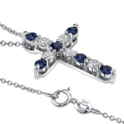 14k White Gold Sapphire and 1/2ct TDW Diamond Necklace (H-I, SI2) - Thumbnail 1