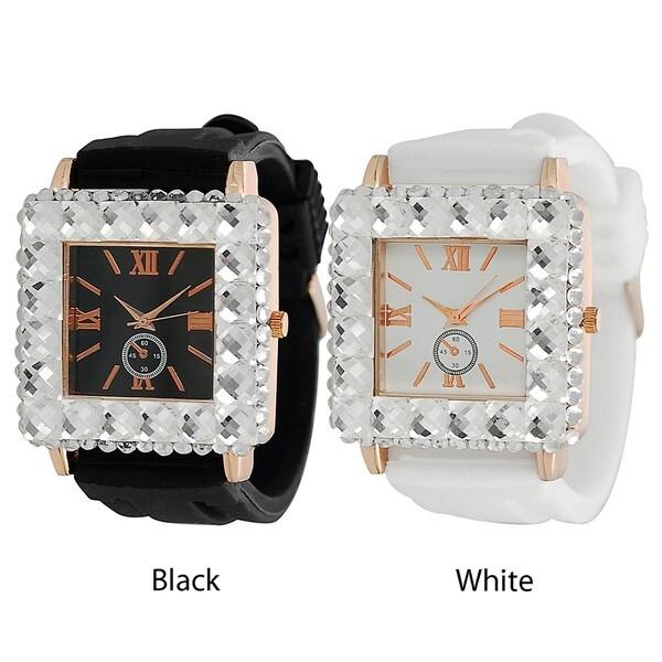 Geneva Platinum Women's Rhinestone-Accented Black or White Silicone Watch