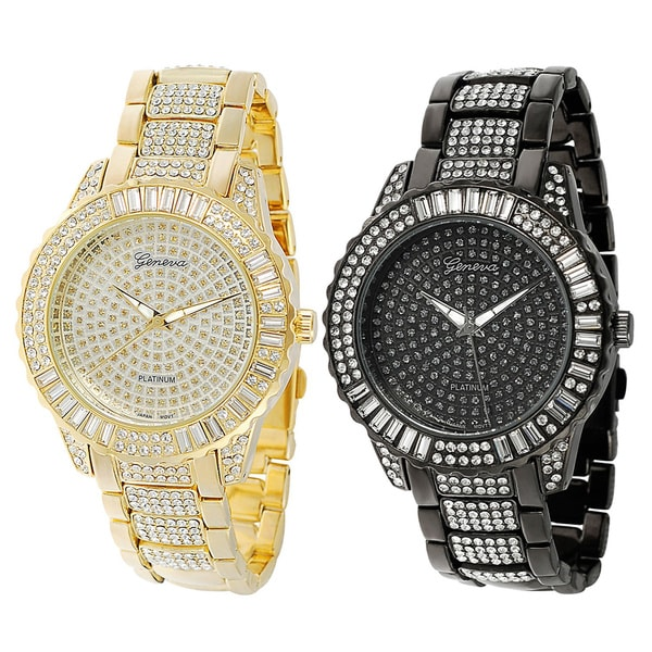 Geneva Platinum Rhinestone Base Metal Link Watch