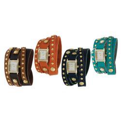 Geneva Platinum Women's Studded Classic Wraparound Watch