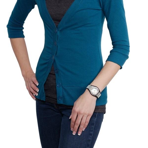 Geneva Platinum Women's Rhinestone-accented Faux Leather Watch