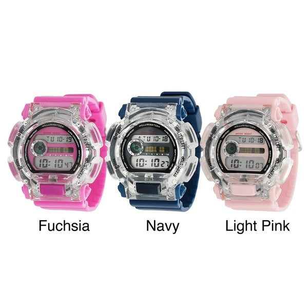 Geneva Platinum Women's 12 Digit Light-up Sports Watch