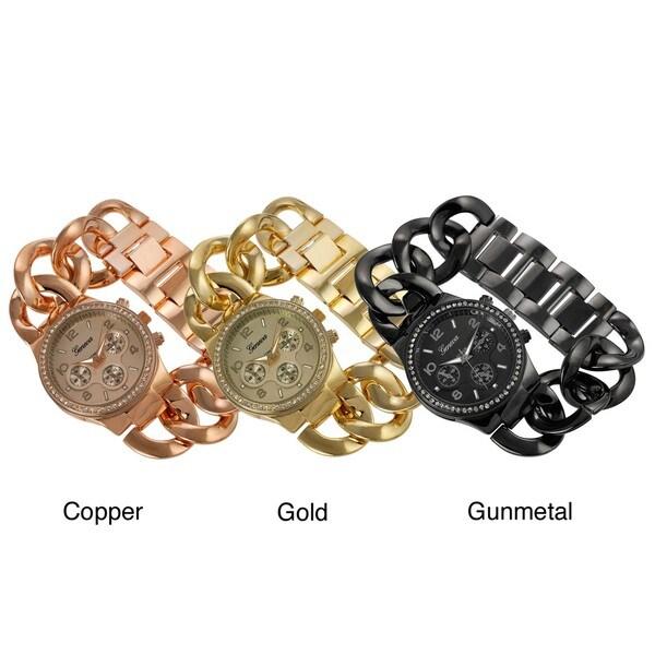 Geneva Platinum Women's Rhinestone Decorative Chronograph Link Watch