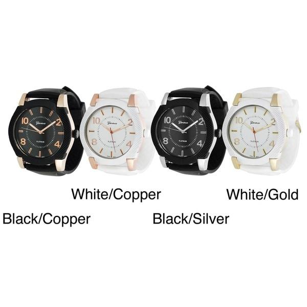 Geneva Platinum Men's Silicone Watch