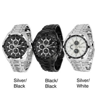 Geneva Platinum Men's Metal Link Japanese Quartz Chronograph-style Watch