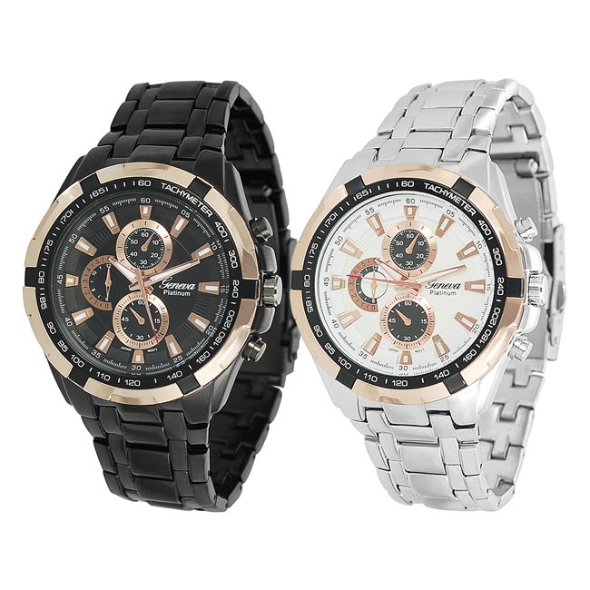 Geneva Platinum Men's Japanese Quartz Chronograph-Style Link Watch