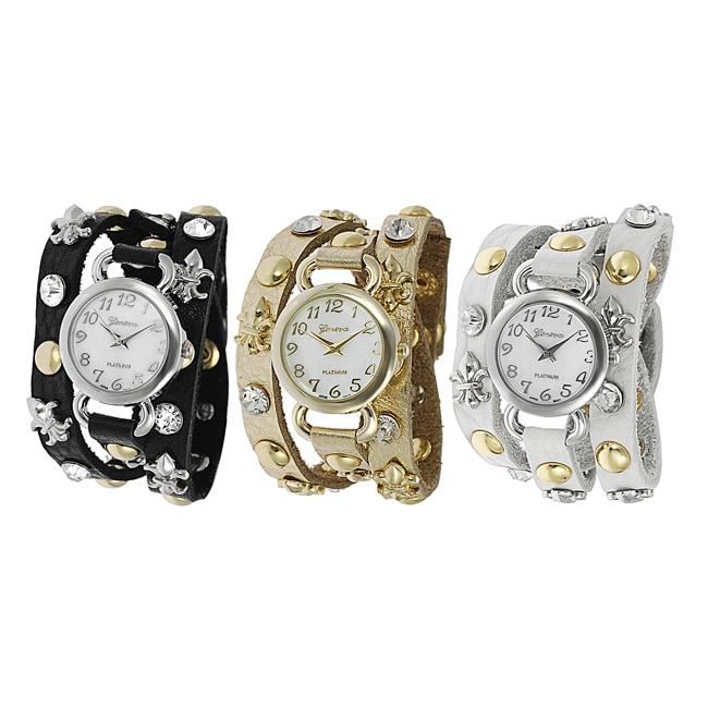 Geneva Platinum Women's Rhinestone Fleur de Lis Stud Wrap-around Watch