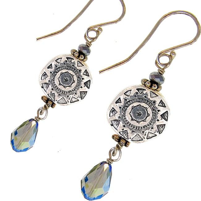 Misha Curtis Sterling Silver Crystal Sunburst Earrings