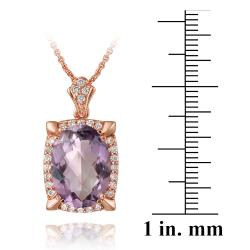 Glitzy Rocks Rose Gold Over Silver Amethyst and Cubic Zirconia Necklace