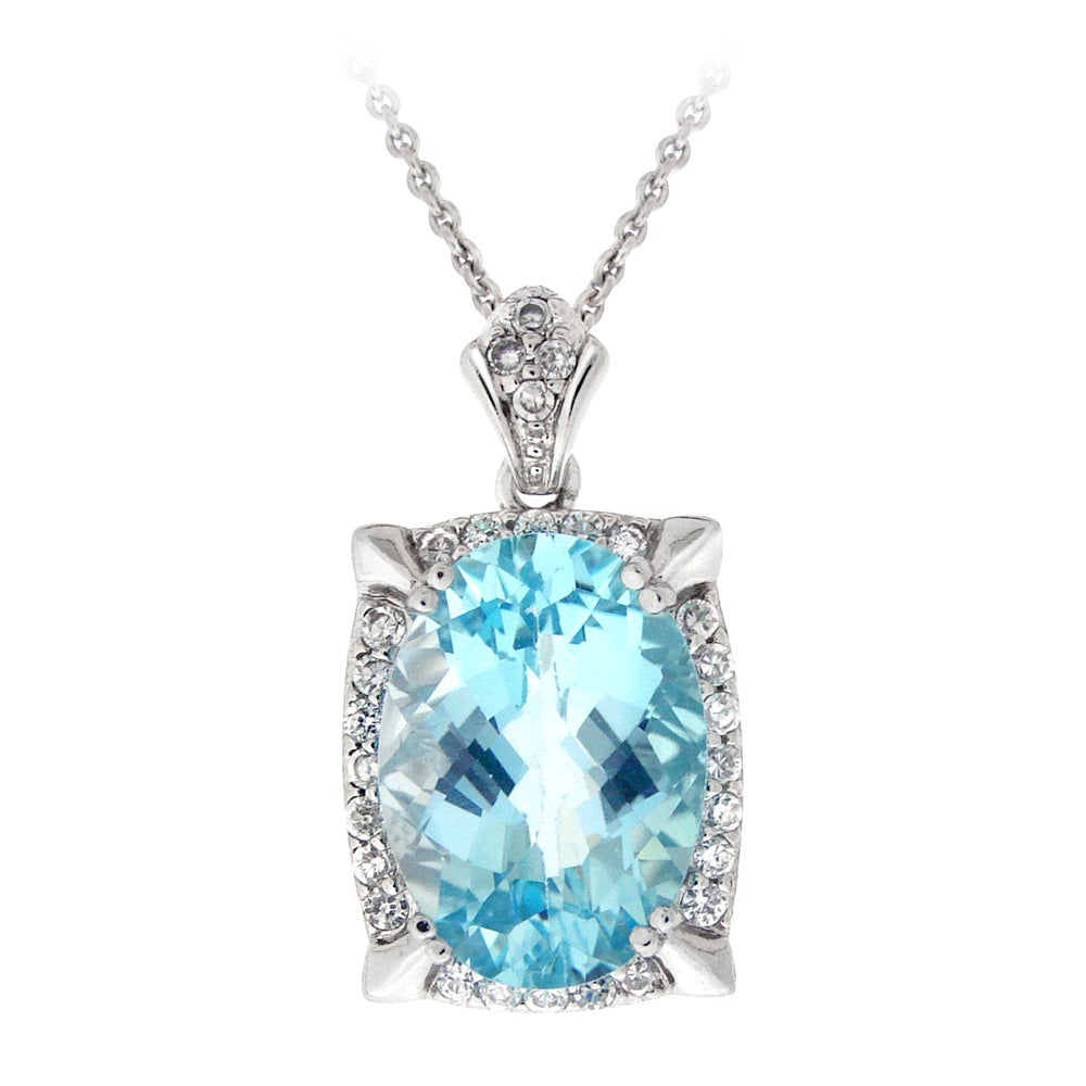 Glitzy Rocks Silvertone Topaz and Cubic Zirconia Necklace - Thumbnail 0