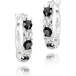 Crystal Ice Silvertone Black and White Crystal Earrings