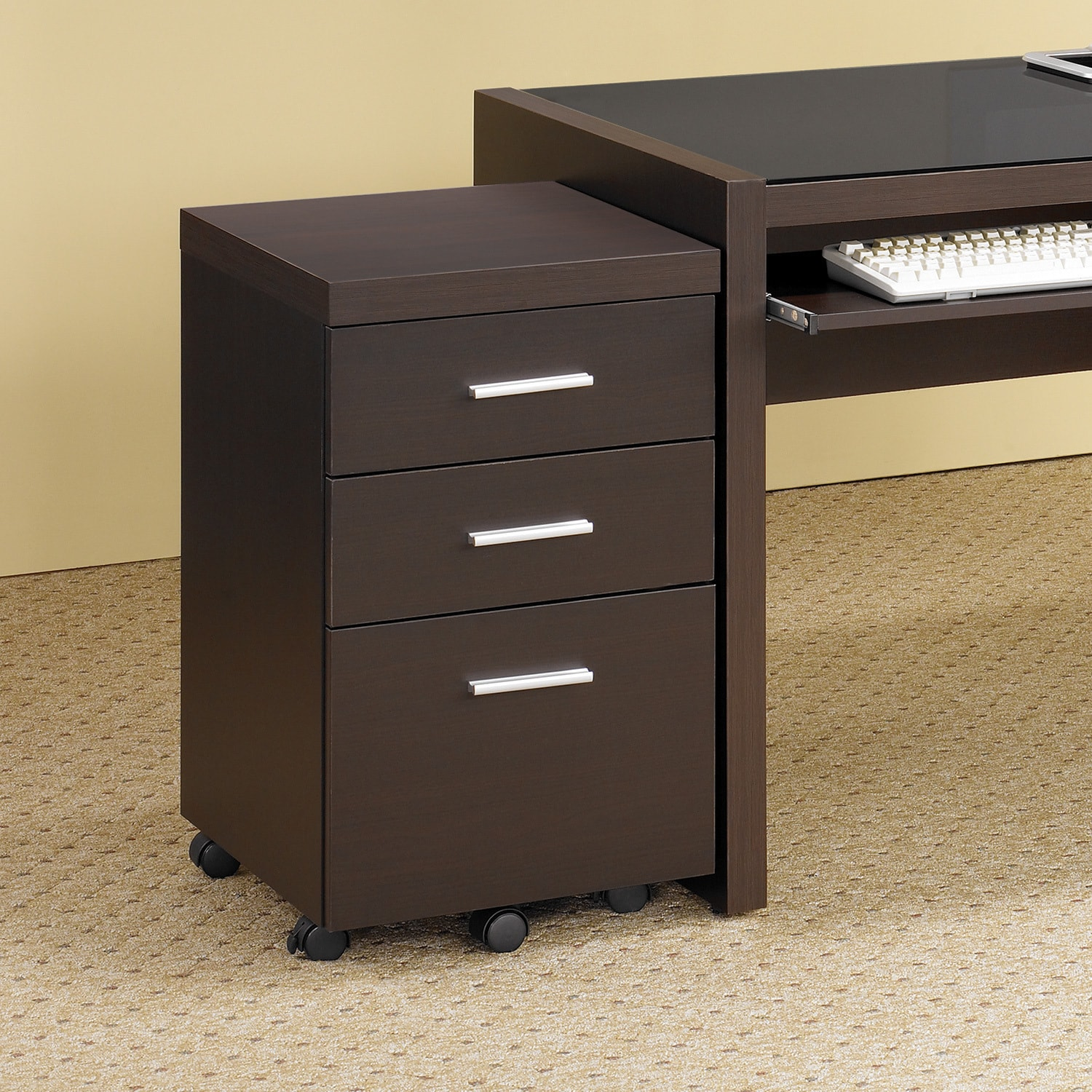 Monarch Cappuccino Wood File Cabinet with Casters (Cappuc...