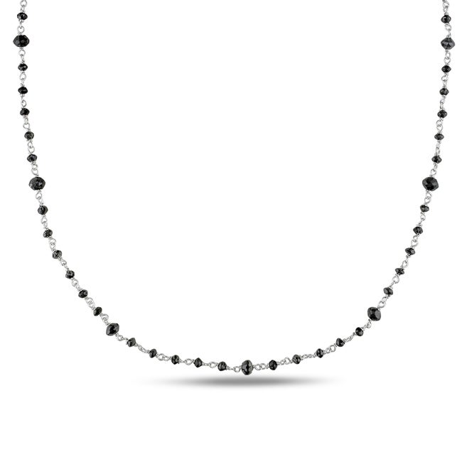Miadora 14k White Gold 10 1/2ct TDW Black Diamond Bead Necklace