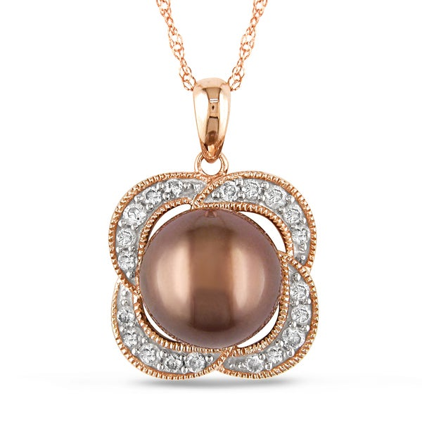 14k Pink Gold 1/4ct TDW Tahitian Pearl Fashion Necklace (G-H, I1-I2)