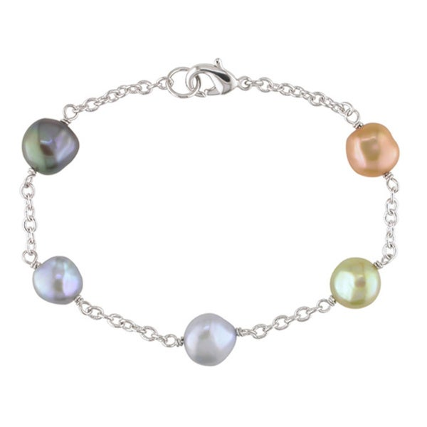 Miadora Silvertone Multi-colored Freshwater Pearl Bracelet (8-9 mm)