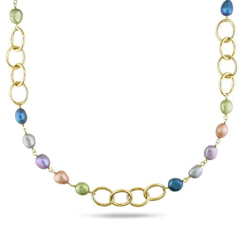 Miadora Brass Multi-colored Pearl Link Necklace (7-10 mm)