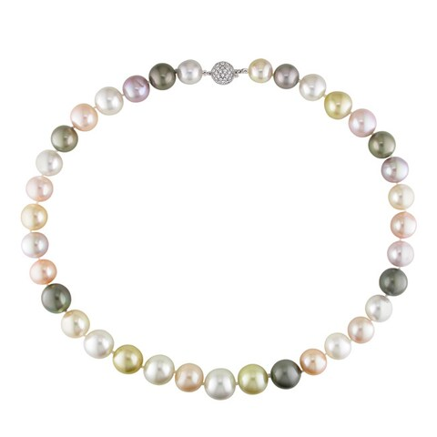 Miadora Signature Collection 14k Gold Multicolored Pearl 4/5ct TDW Diamond Necklace (10.5-13.7 mm)(I1) - 10.5-13.7 mm(I1
