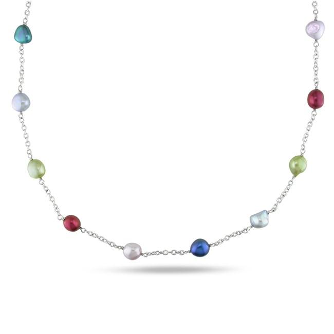 Miadora Silvertone Multicolored Pearl Necklace (8-9 mm)