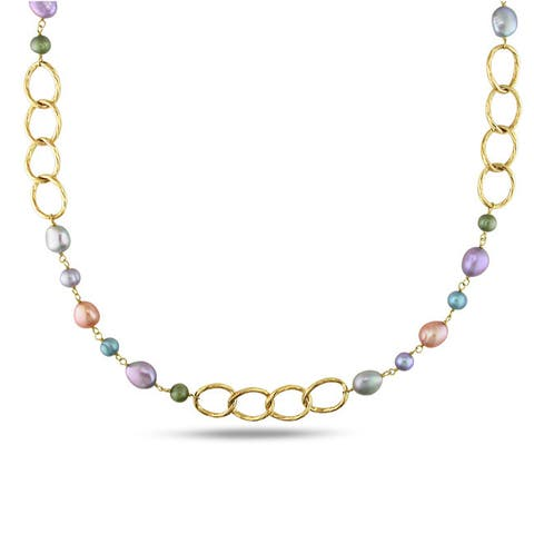 Miadora Goldtone Multicolored Pearl Oval Link Necklace (6-10 mm)
