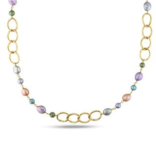 Miadora Goldtone Multicolored Pearl Oval Link Necklace (6-10 mm)