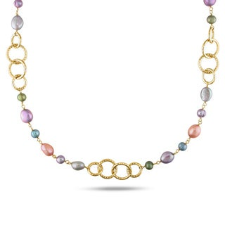 M by Miadora Multicolored FW Pearl Round Link Necklace