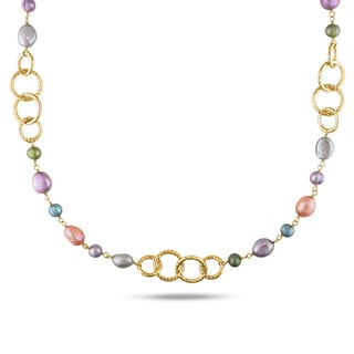 Miadora Multicolored FW Pearl Round Link Necklace