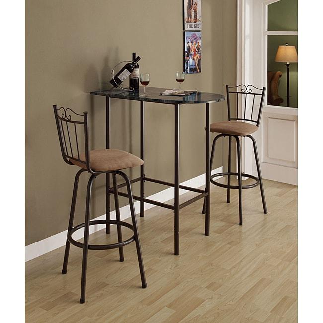 Dark Coffee Metal Swivel Barstools (Set of 2)