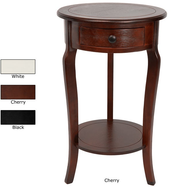 26-inch Hand-crafted Oriental Round Wood Accent End Table (China)
