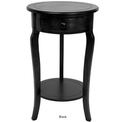26-inch Hand-crafted Oriental Round Wood Accent End Table (China) - Thumbnail 1