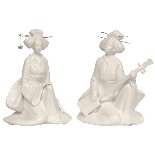 Seated Musical Geisha 7-inch Statue Set (China)