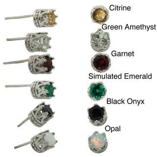 Junior Jewels Tiara Collection Sterling Silver Children's 4mm Gemstone Crown Earrings