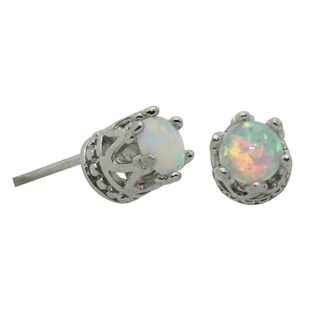 Junior Jewels Tiara Collection Sterling Silver Children's 4mm Gemstone Crown Earrings