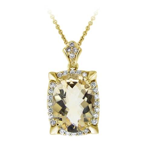 Glitzy Rocks Rhodium-plated Citrine and Cubic Zirconia Necklace