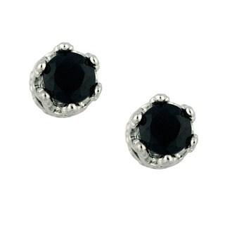 Gioelli High-polish Sterling Silver Round-cut Black Onyx Crown Stud Earrings