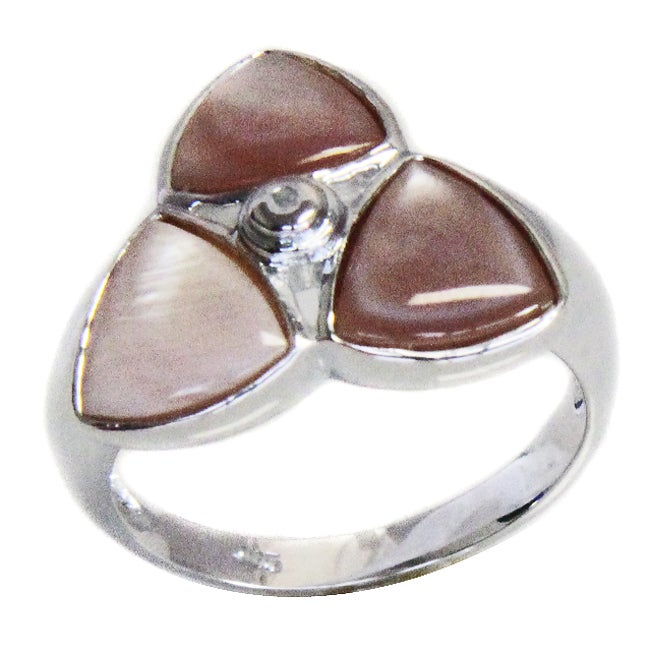 Adee Waiss Sterling Silver Pink Mother of Pearl Star Ring