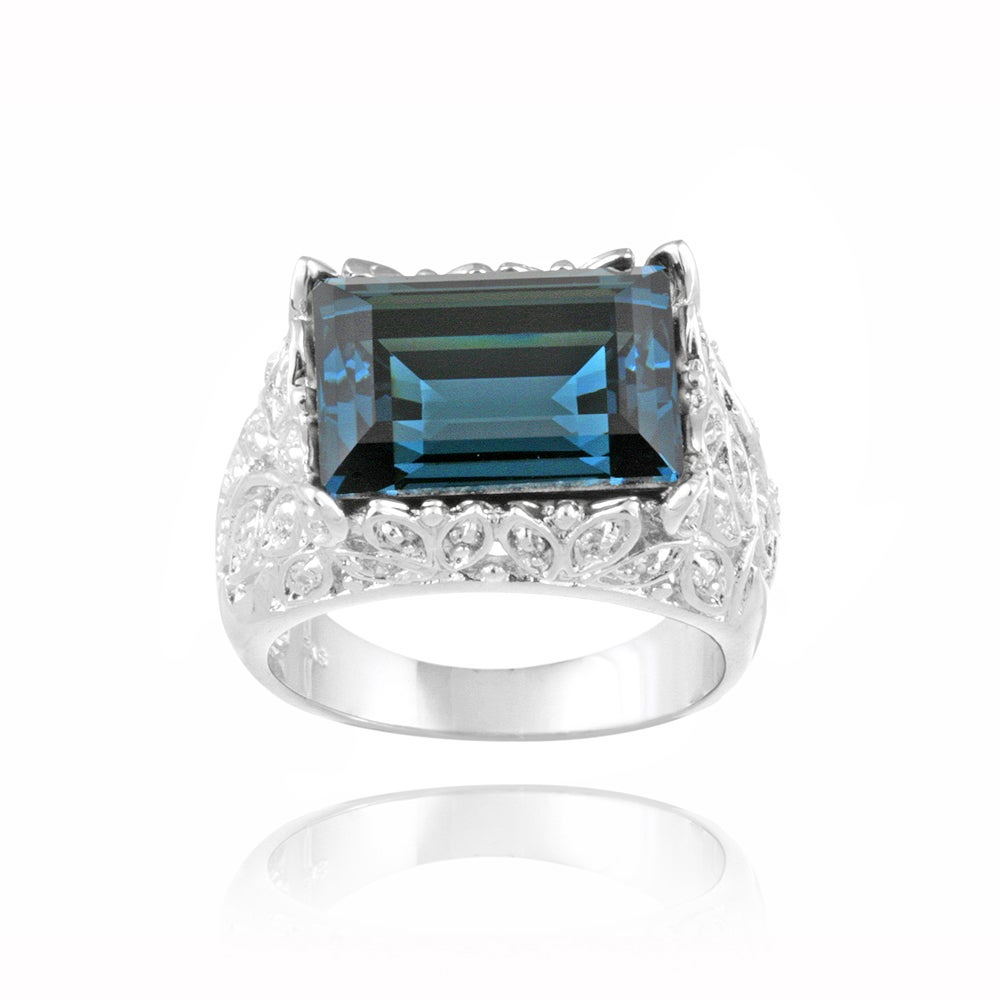 Icz Stonez Rhodium-plated Indicolite Crystal and Cubic Zirconia Ring