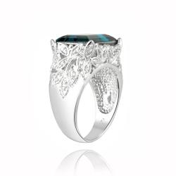 Icz Stonez Rhodium-plated Indicolite Crystal and Cubic Zirconia Ring - Thumbnail 1