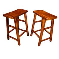Handmade Set of 2 Wood High Saddle Seat 29-inch Stool (China)