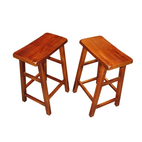 Handmade 24-inch Oriental Walnut Wood Saddle Seat Stools (Set of 2) (China)