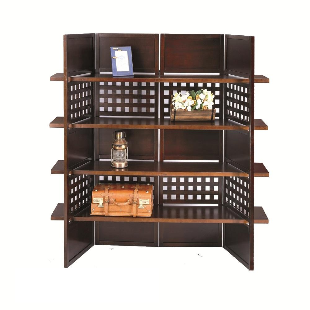 4-panel Book Shelves Walnut Finish Room Divider - Thumbnail 0