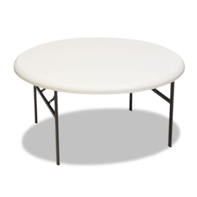 Iceberg IndestrucTable TOO 1200 Series Resin Round 60 Inch Platinum Folding  Table