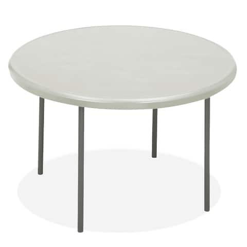 Iceberg IndestrucTables Platinum Resin Round Folding Table - 48 x 48 x 29