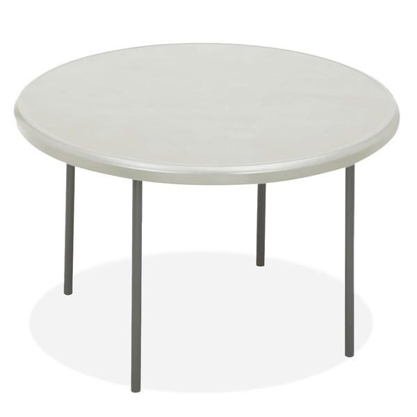 Attirant Iceberg IndestrucTables Platinum Resin Round Folding Table   White