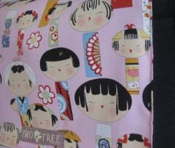 Handmade Medium Black Japanese Kokeshi Doll Messenger Bag