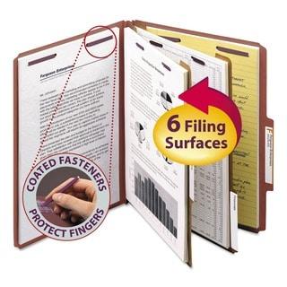 Smead Red Six-Section Letter Pressboard Classification Folders (10/Box)