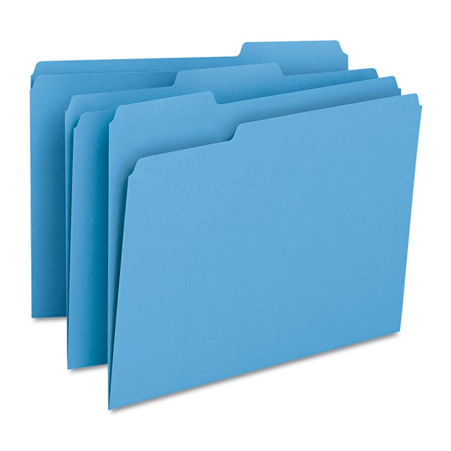 Smead Blue 1/3-cut Top Tab Letter Stock File Folders, Box of 100