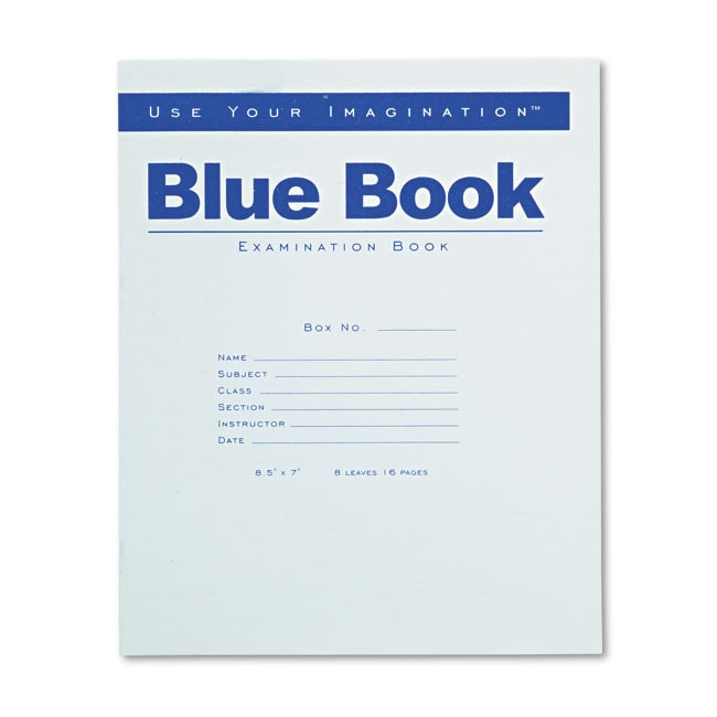 Roaring Spring 8 SHEETS WIDE RULE 8 1/2 X 7 EXAM BLUE BOOK