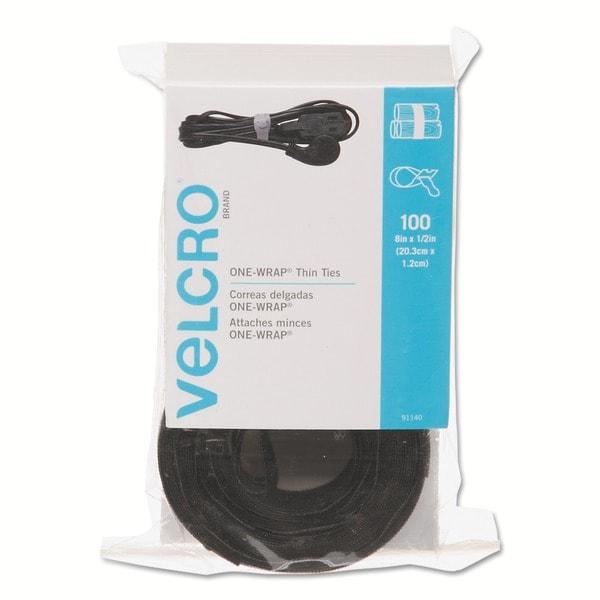 Hook and Loop Black Reusable Self-Gripping Cable Ties